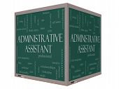 Administrative Assistant Word Cloud Concept On A 3D Cube Blackboard