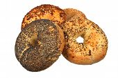picture of bagel  - Four Mixed Bagel isolated on white background - JPG