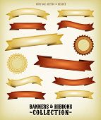 Vintage Banners And Ribbons Set