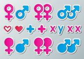 pic of xx  - paper male and female symbols combination with heart plus and chromosome signs - JPG
