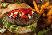foto of portobello mushroom  - Healthy Vegetarian Portobello Mushroom Burger with Cheese and Veggies - JPG