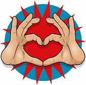 Vintage Pop Art Hand Heart Sign.