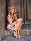 OXFORD - JULY 27: Julia Verdin wearing a dress by Yana K, shoes by Carlos Santana, and Jewelry by Fi