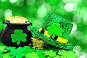 stock photo of leprechaun hat  - St Patricks Day Pot of Gold - JPG