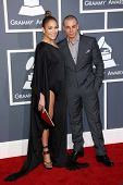 Jennifer Lopez, Casper Smart at the 55th Annual GRAMMY Awards, Staples Center, Los Angeles, CA 02-10
