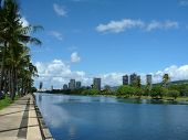 Ala Wai Canal, Hotels, Condos, Golf Course And Coconut Trees On A Nice Day In Waikiki