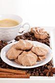 Meringue mocha cookies with coffee