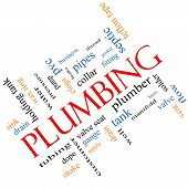stock photo of septic  - Plumbing Word Cloud Concept angled with great terms such as pipes fitting plumber and more - JPG
