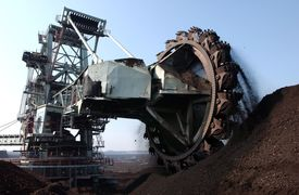 picture of collier  - Coal rotating blades digger at surface mine - JPG