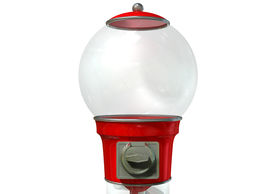 picture of gumball machine  - A regular empty red vintage gumball dispenser machine made of glass and reflective plastic with chrome trim on an isolated white background - JPG