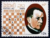 Postage Stamp Laos 1988 Jose Raul Capablanca, Chess Champion