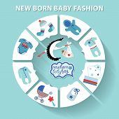 stock photo of born  - Cute Baby fashion infographic with sample new born icons in flat style - JPG