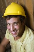 Caucasian Male Construction Worker Resting