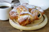 traditional French brioche pastry with powdered sugar