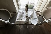 High angle view of arranged table in restaurant