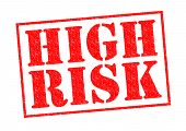 picture of dangerous situation  - HIGH RISK red Rubber Stamp over a white background - JPG