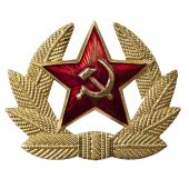 image of hammer sickle  - Russian hammer and sickle badge isolated on white - JPG