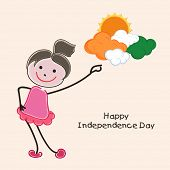 Cute little girl trying to touch the clouds in national flag colors on abstract background for India