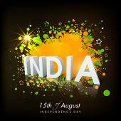 Stylish text India on colorful national flag colors background for 15th of August, Indian Independen