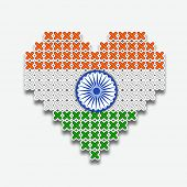 Stylish heart shape in national flag colors with ashoka wheel for 15th of August, Indian Independenc