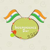 Indian Independence Day celebration background with national flags on abstract grey background.
