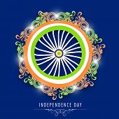 Beautiful Ashoka Wheel decorated with floral design in national flag colors on blue background.