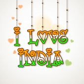 Hanging stylish text I Love India in Indian National Flag colors on heart shape decorated grey backg