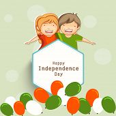 Happy cute little kids with national flag colors balloons for 15th of August, Indian Independence Da