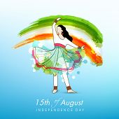 Young kathak dance in dancing pose on national flag colors background for 15th of August, Indian Ind