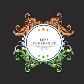 Beautiful floral decorated sticky and space for your message for Indian Independence Day celebration