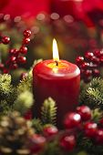 Advent Wreath Over Red Background