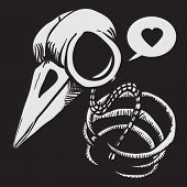 cartoon illustration of a bird skull with bones and speech bubble