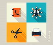 Business Icon Set. Software And Web Development, Marketing, Global Communications. Flat Design