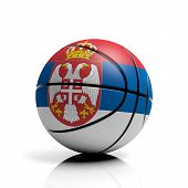 Basketball ball flag of Serbia isolated on white background