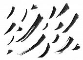 Collection of Chinese ink calligraphy brush, isolated on white.
