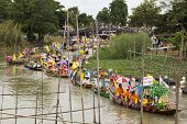 Ayutthaya, Thailand - July 11: Unidentified People On Flower Boats In Floating Parade, The Unique An