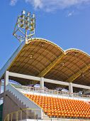 image of grandstand  - Rows of empty stadium seat waiting for the audience - JPG