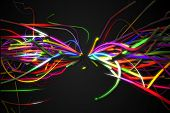 Rainbow straight Butterfly Shape Line Glow Dark Background