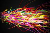 picture of super-sonic  - Super Sonic Rainbow Strands Line Glow Dark Background - JPG