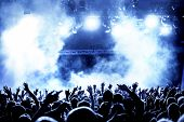 image of pop star  - silhouettes of concert crowd in front of bright stage lights - JPG