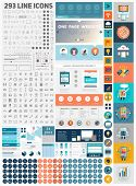 One Page Website Design Template with UI Elements kit and Flat Design Concept Icons. Mobile Phones a
