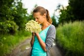 stock photo of elderflower  - Young woman picking elderflower to make infusion - JPG
