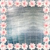 Beautiful Pink Flowers On Blue Background Old Jeans