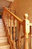interior wooden staircase in a beautiful new cottage