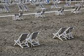 VIAREGGIO, ITALY - MAY 01: Typical Italian beach chairs in Viareggio, one of the most well known sum