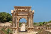 stock photo of libya  - Beautiful view of Arch of Septimus Severus Leptis Magna Libya - JPG