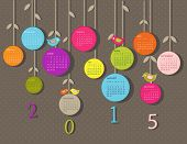 Calendar for 2015 year with flowers