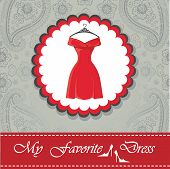 foto of little black dress  - Label with classic little red dress with hanger  - JPG