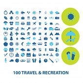 100 travel, recreation, vacation icons, signs, symbols set, vector