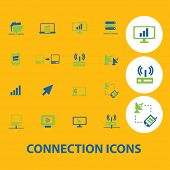 connection, communication icons, signs, symbols set, vector